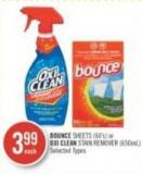 Bounce Sheets (60's) or Oxi Clean Stain Remover (650ml)