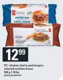 PC Chicken - Beef Or Pork Burgers. 568 G-1.36 Kg