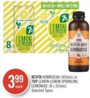Kevita Kombucha (450ml) or 7up Lemon Lemon Sparkling Lemonade (8 X 355ml)