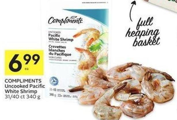 Compliments Uncooked Pacific White Shrimp 31/40 Ct 340 g
