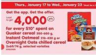 Quaker Cereal - 350-650 G - Instant Oatmeal - 216-430 G Or Overnight Oats Chilled Cereal - 2x69/74 G