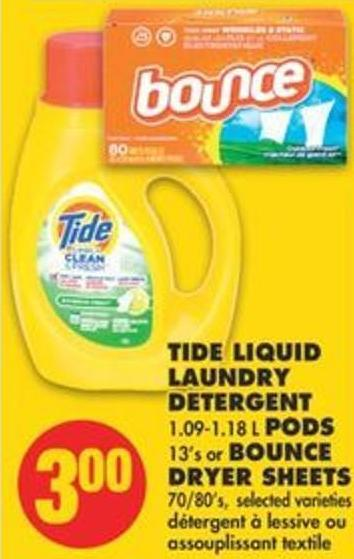Tide Liquid Laundry Detergent 1.09-1.18 L PODS 13's Or Bounce Dryer Sheets 70/80's