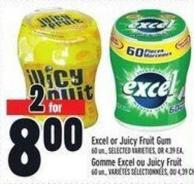 Excel Or Juicy Fruit GUM 60 Un..