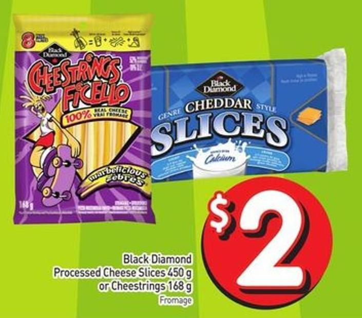 Black Diamond Processed Cheese Slices 450 g or Cheestrings 168 g