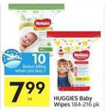 Huggies Baby Wipes - 10 Air Miles Bonus Miles