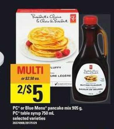 PC Or Blue Menu Pancake Mix 905 G - PC Table Syrup 750 Ml