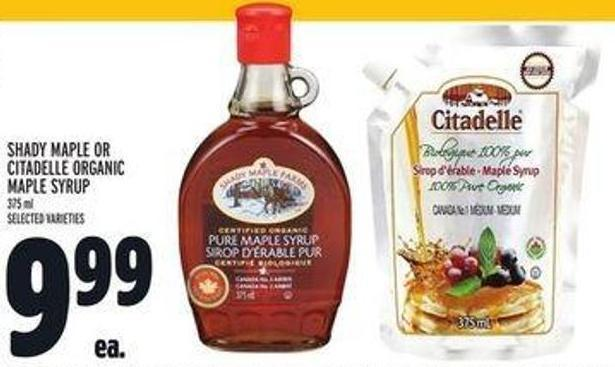 Shady Maple Or Citadelle Organic Maple Syrup