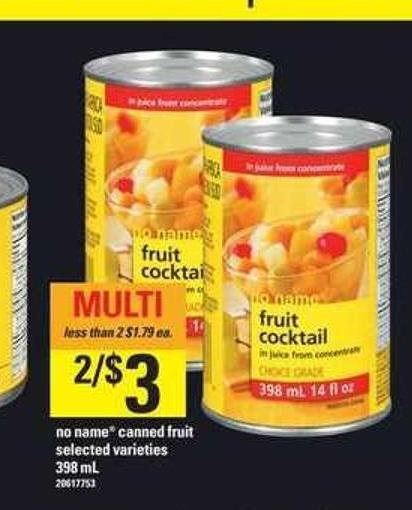 No Name Canned Fruit - 398 mL