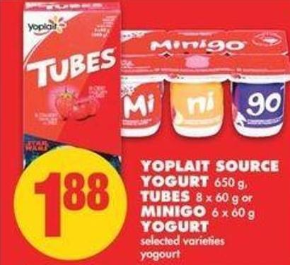 Yoplait Source Yogurt - 650 G - Tubes 8 X 60 G Or Minigo - 6 X 60 G Yogurt