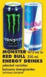 Monster - 473 mL or Red Bull - 250 mL Energy Drinks