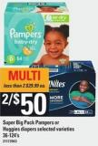 Super Big Pack Pampers Or Huggies Diapers - 36-124's