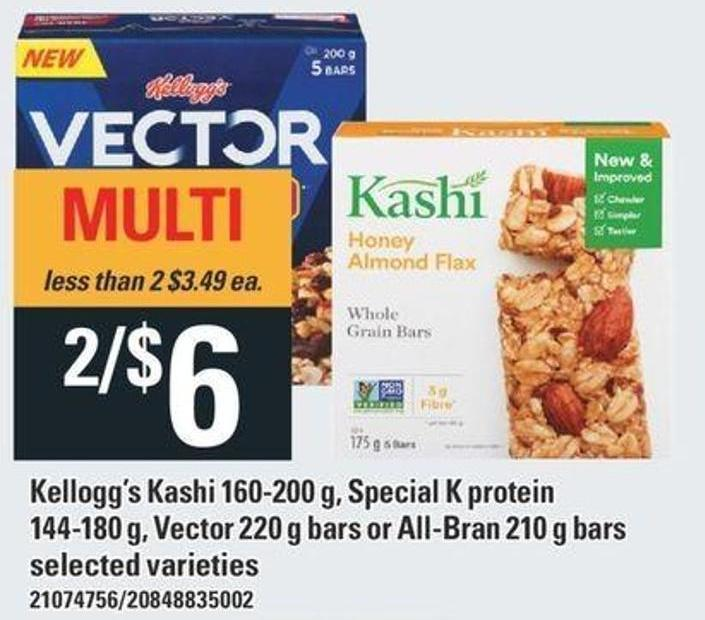 Kellogg's Kashi 160-200 G - Special K Protein 144-180 G - Vector 220 G Bars Or All-bran 210 G - Bars
