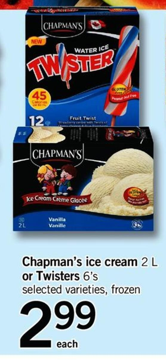 Chapman's Ice Cream 2 L Or Twisters 6's