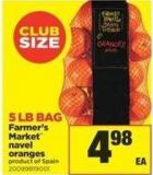 Farmer's Market Navel Oranges - 5 Lb Bag
