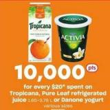 Tropicana - Pure Leaf Refrigerated Juice - 1.65-3.78 L Or Danone Yogurt