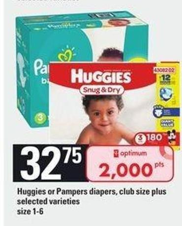 Huggies Or Pampers Diapers Club Size Plus - Size 1-6.