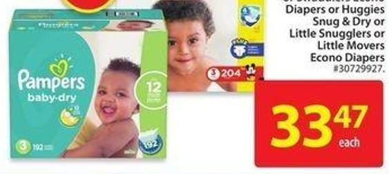 Pampers Baby Dry or Cruisers or Swaddlers Econo Diapers