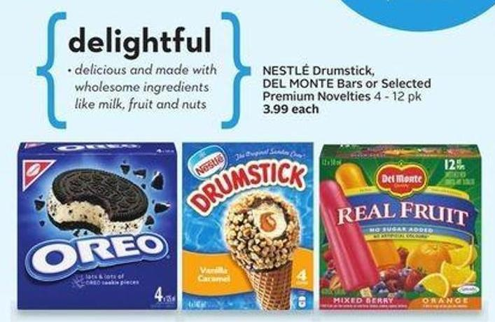 Nestlé Drumstick - Del Monte Bars or Selected Premium Novelties - 50 Air Miles Bonus Miles
