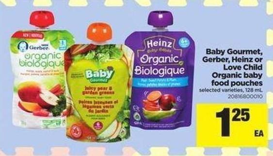 Baby Gourmet - Gerber - Heinz Or Love Child Organic Baby Food Pouches - 128 Ml