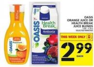 Oasis Orange Juice Or Health Break Juice Blends 1.65 - 1.75 L