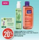 Clean & Clear Facial Cleansers or Garnier Bio Organic Facial Care Products