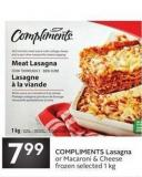 Compliments Lasagna or Macaroni & Cheese Frozen
