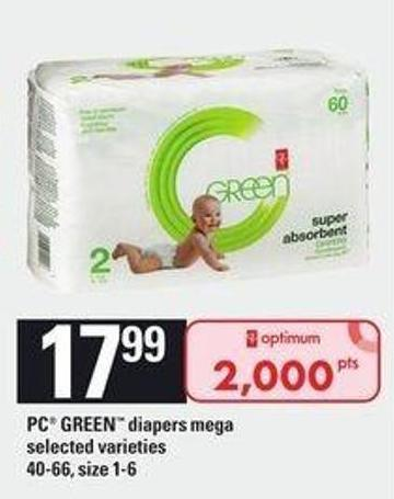 PC Green Diapers Mega - 40-66 - Size 1-6