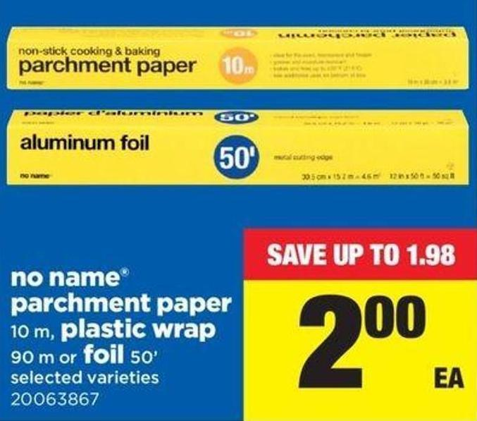 No Name Parchment Paper 10 M - Plastic Wrap 90 M Or Foil 50'
