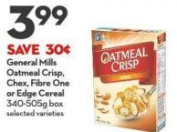 General Mills  Oatmeal Crisp - Chex - Fibre One  or Edge Cereal 340-505g Box