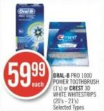 Oral-b Pro 1000 Power Toothbrush (1's) or Crest 3D White Whitestrips (20's - 21's)