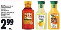 Gold Peak Iced Tea Or Simply Lemonade