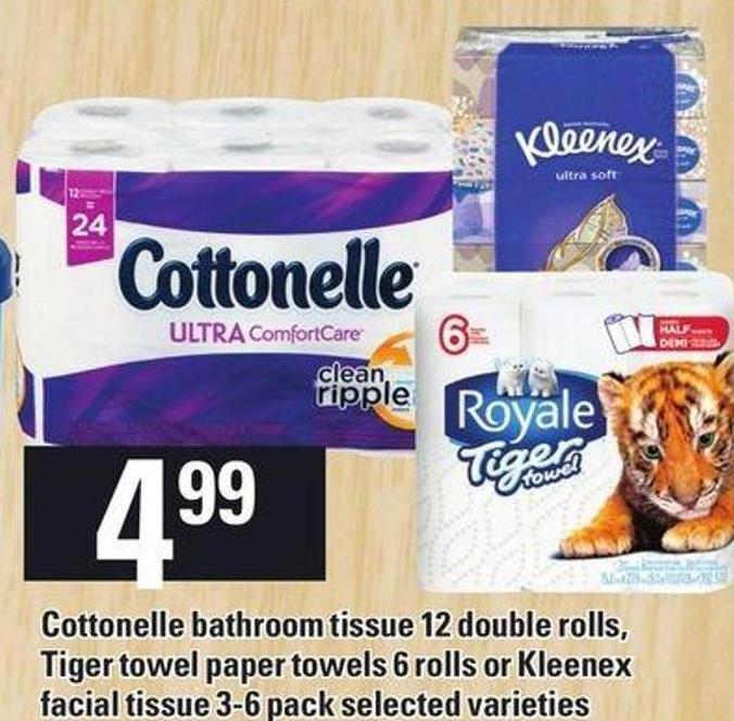 Cottonelle Bathroom Tissue - 12 Double Rolls - Tiger Towel Paper Towels - 6 Rolls Or Kleenex Facial Tissue - 3-6 Pack