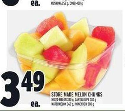 Store Made Melon Chunks Mixed Melon 380 g Cantaloupe 380 g Watermelon 360 g Honeydew 380 g