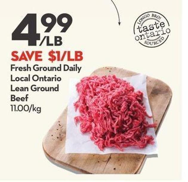Fresh Ground Daily Local Ontario Lean Ground Beef
