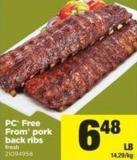PC Free From Pork Back Ribs