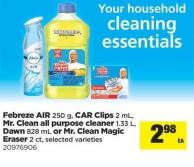 Febreze Air - 250 G - Car Clips - 2 Ml - Mr. Clean All Purpose Cleaner - 1.33 L - Dawn - 828 Ml Or Mr. Clean Magic Eraser - 2 Ct