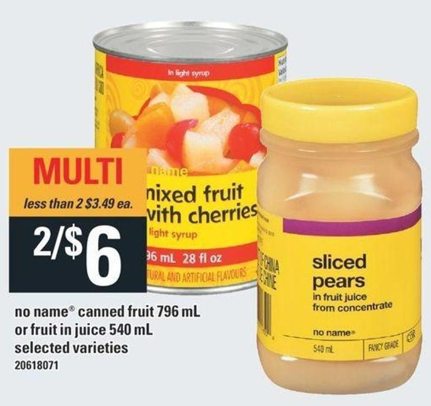 No Name Canned Fruit 796 Ml Or Fruit In Juice 540 Ml