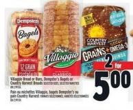 Villaggio Bread Or Buns - Dempster's Bagels Or Country Harvest Breads