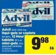 Advil 200-400 Mg Liqui-gels Or Caplets 50-80's - 12 Hour Tablets 52's Or Mini-gels 70's