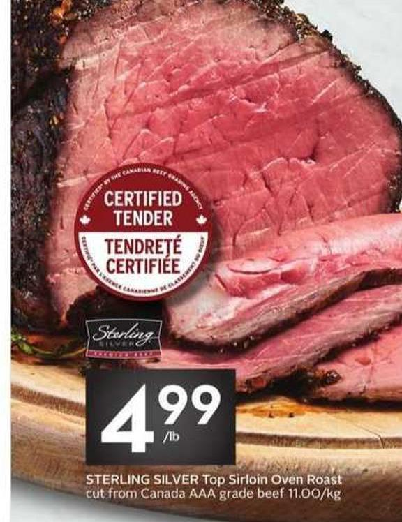 Sterling Silver Top Sirloin Oven Roast Cut From Canada Aaa Grade Beef 11.00/kg