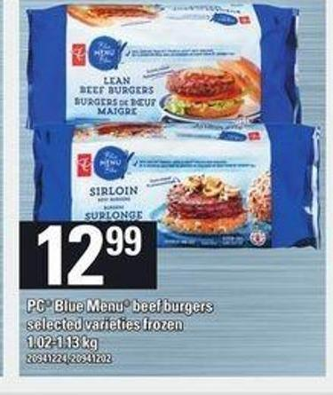 PC Blue Menu Beef Burgers - 1.02-1.13 Kg