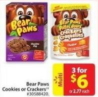 Bear Paws Cookies or Crackers