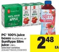 PC 100% Juice Boxes 10x200 Ml Or Sunrype Slim Juice 1.36 L