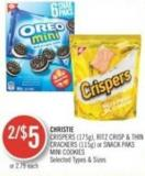Christie Crispers (175g) - Ritz Crisp & Thin Crackers (115g) or Snack Paks Mini Cookies