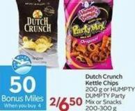 Dutch Crunch Kettle Chips 200 g or Humpty Dumpty Partymix or Snacks 200-300 G- 50 Air Miles