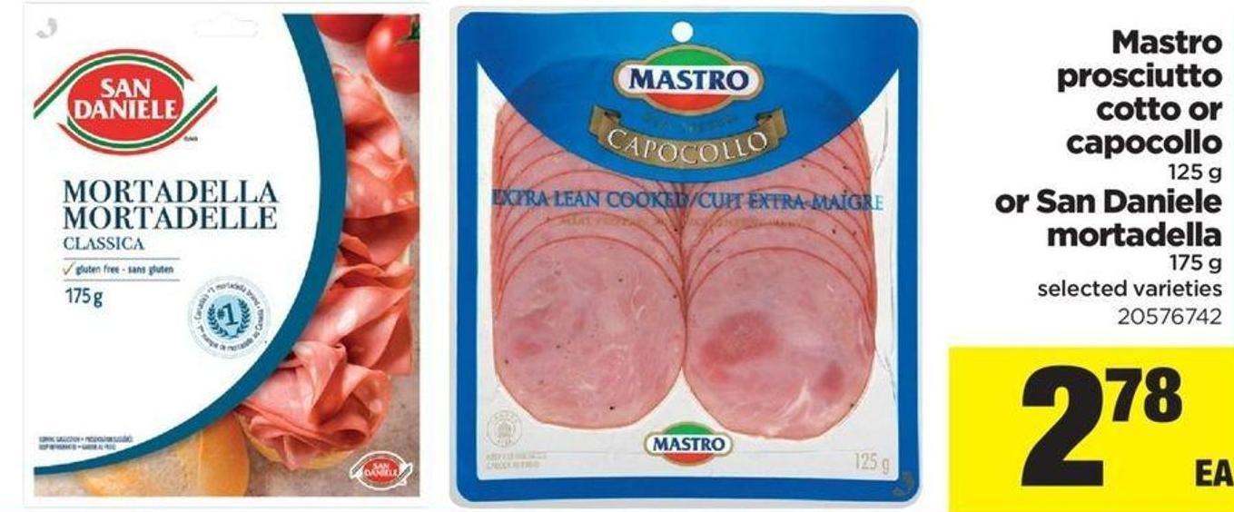 Mastro Prosciutto Cotto Or Capocollo - 125 g or San Daniele Mortadella - 175 g