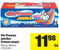 Mr Freeze Jumbo Freeze Pops - 60 Ct.x 150 mL
