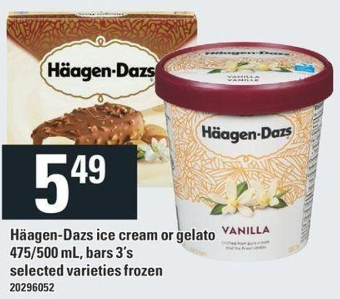 Häagen-dazs Ice Cream Or Gelato - 475/500 mL - Bars 3's