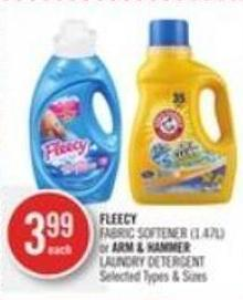 Fleecy Fabric Softener (1.47l) or Arm & Hammer Laundry Detergent
