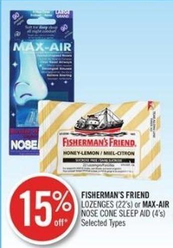 Fisherman's Friend Lozenges (22's) or Max-air Nose Cone Sleep Aid (4's)